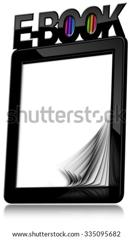 E-book Reader with Blank Pages / Black modern ebook reader with blank curled pages with text Ebook and colorful books. Isolated on white background - stock photo