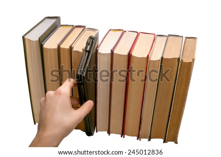 E-book vs old books choice isolated on the white background - stock photo