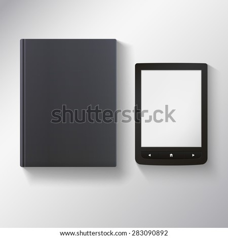 E-book with blank black book.  illustration for your presentation and design.