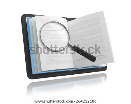E-book with the magnifying glass over white. - stock photo