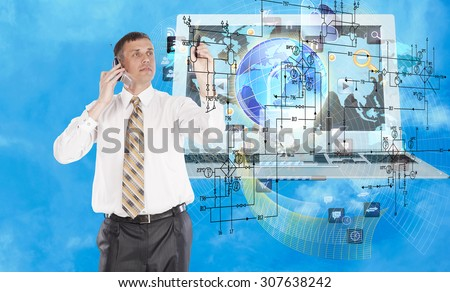 E-business.Businessman with phone - stock photo