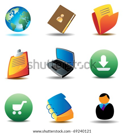 E-business icons for website. Raster version. Vector version is also available.