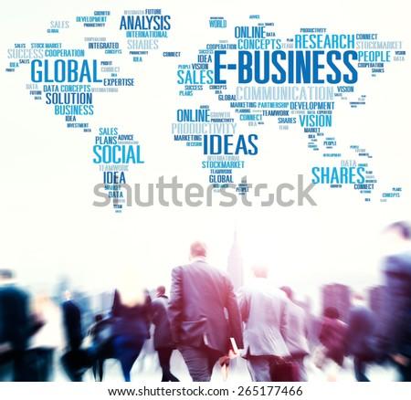 E-Business Ideas Analysis Communication Solution Social Concept - stock photo