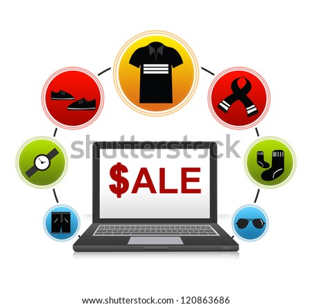 E-Commerce and Online Shopping Concept Present by Computer Notebook With $ale on Screen and Men Fashion Icon Around Isolate on White Background - stock photo