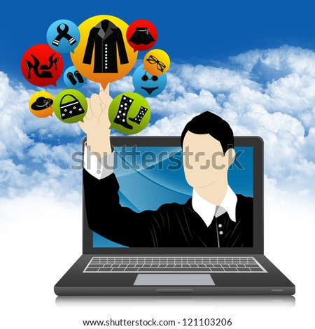 E-Commerce and Online Shopping Concept Present by Computer Notebook With Businessman Pointing to Colorful Women Fashion Icon in Blue Sky Background - stock photo