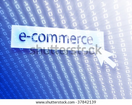 E-commerce button with clicking mouse icon, digital background