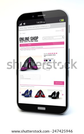 e-commerce concept: touchscreen smartphone with shop online on the screen isolated on white background - stock photo