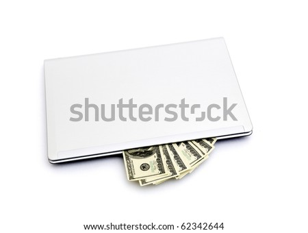 E-commerce concept with dollars and laptop isolated on the white - stock photo