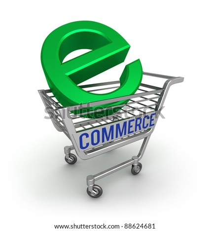 E-commerce 3D icon , isolated on white - stock photo