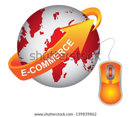E-Commerce, Internet, Online Marketing, Online Business or Technology Concept Present By Red Earth With Orange E-Commerce Arrow and Orange Mouse Isolated on White Background - stock photo