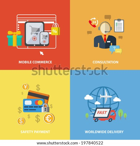 E-commerce internet shopping elements of mobile commerce consultation safety payment worldwide delivery isolated  illustration. - stock photo