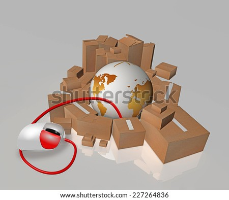e commerce - mouse, earth, cardboard,  - boxes around the planet and a laptop mouse drags boxes - stock photo