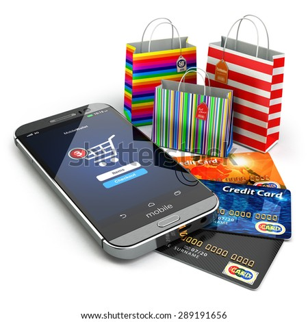 E-commerce. Online internet shopping. Mobile phone, shopping bags and credirt cards.  3d - stock photo