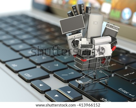 E-commerce or online shopping concept. Home appliance in shopping cart on the laptop keyboard. 3d illustration - stock photo