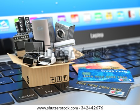 E-commerce or online shopping or delivery concept. Home appliance in box with credit cards on the laptop keyboard. 3d - stock photo