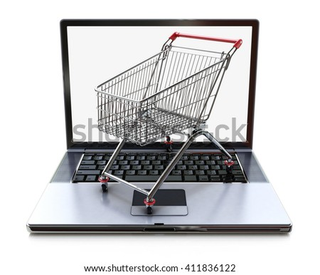 E-commerce. Shopping cart on laptop. Conceptual image in the design of information related to the Internet and shopping.3D illustration