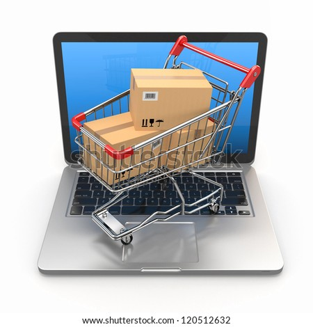 E-commerce. Shopping cart with cardboard boxes on laptop. 3d - stock photo