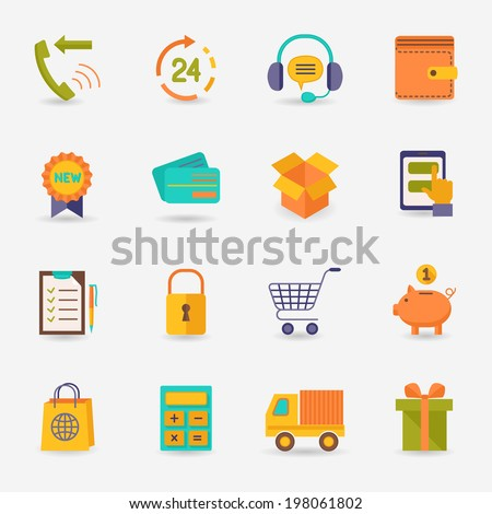 E-commerce shopping icons flat set of delivery truck credit card piggy bank isolated  illustration