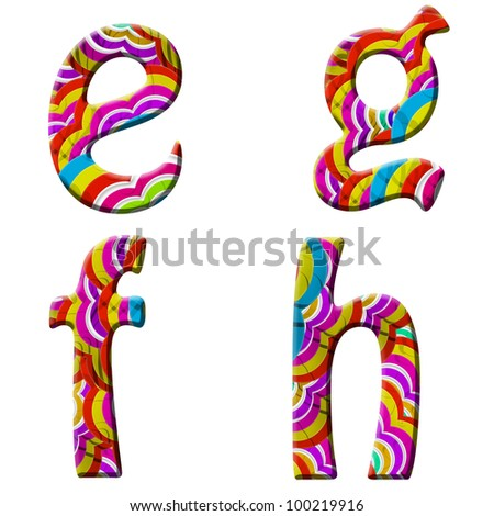 e, f, g, h, Colorful wave font isolated on white. - stock photo