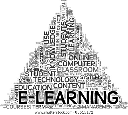E-learning and education concept in tag cloud on white background - stock photo