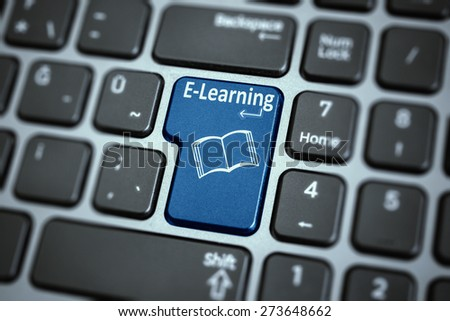 E-learning button on keyboard , - stock photo