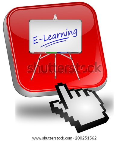 E-Learning Button with cursor - stock photo