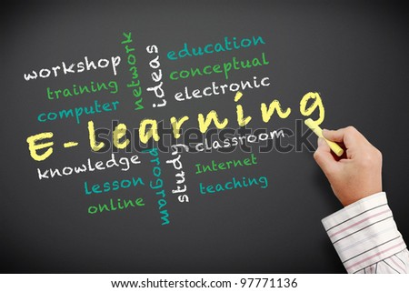 E-learning concept and other related words. handwritten with chalk on a blackboard. - stock photo