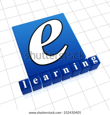 e-learning concept image of text and 3d boxes