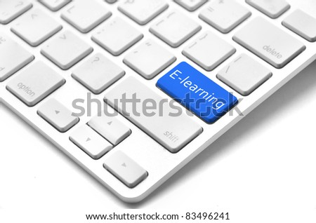 E-learning concept - keyboard with e-learning button