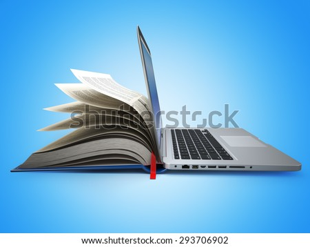 E-learning. Concept of education. Internet labrary. Book and Laptop. 3d - stock photo