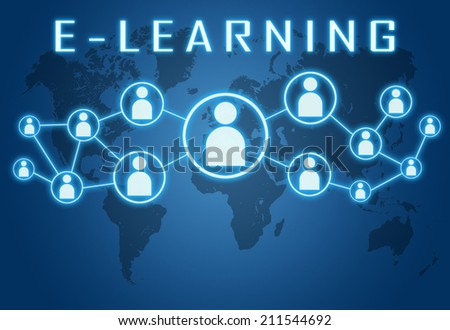 E-learning concept on blue background with world map and social icons. - stock photo