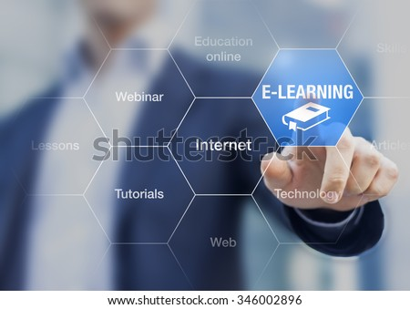 E-learning concept with a teacher presenting online education program - stock photo