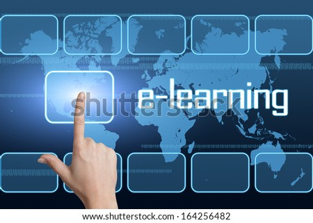 E-learning concept with interface and world map on blue background - stock photo