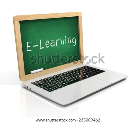 e learning 3d concept - laptop with blackboard - stock photo