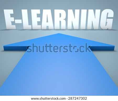 E-Learning  - 3d render concept of blue arrow pointing to text. - stock photo