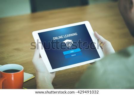 E-LEARNING EDUCATION ONLINE WEBINAR SCHOOL CONCEPT - stock photo