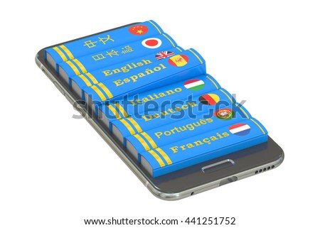 E-learning education or internet library concept. Languages Books in the smartphone, 3D rendering isolated on white background - stock photo