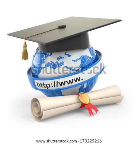 E-learning. Globe, diploma and mortar board. 3d - stock photo