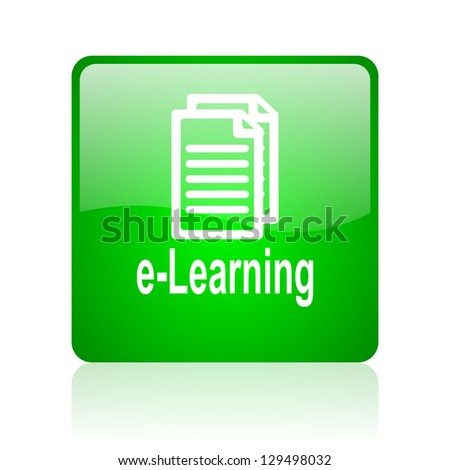 e-learning green square web icon on white background - stock photo