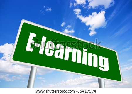E-learning illustrated sign - stock photo