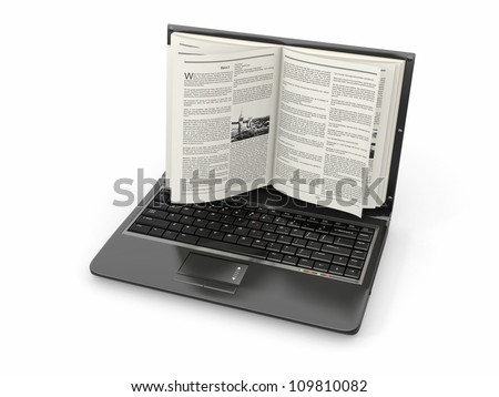 E-learning. Laptop screen as book on white background. 3d - stock photo