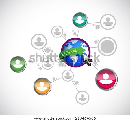 e learning network connection illustration design over a white background - stock photo
