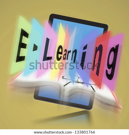 E-learning on Digital tablet, The concept E-learning - stock photo
