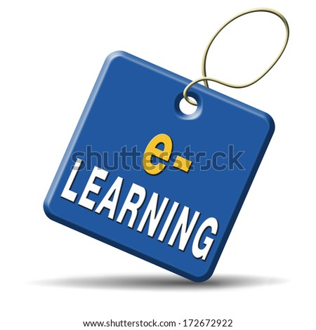 e-learning online internet learning in open school or university virtual education icon button or sign