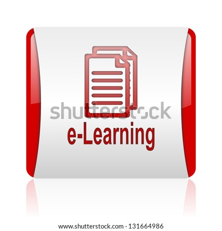 e-learning red and white square web glossy icon - stock photo