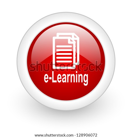 e-learning red circle glossy web icon on white background - stock photo