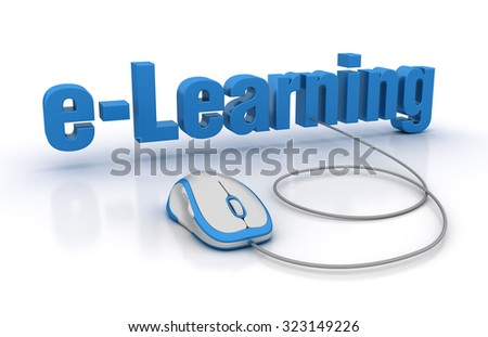 E-LEARNING Word with Computer Mouse. High Quality 3D Render - stock photo