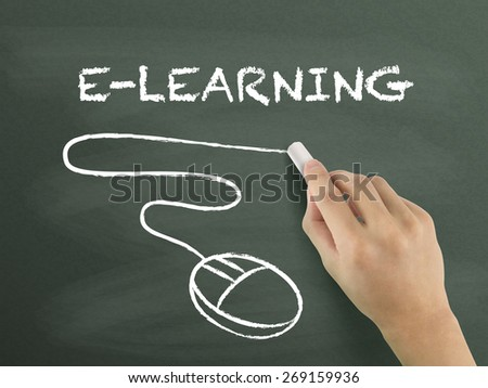 e-learning word written by hand on blackboard - stock photo