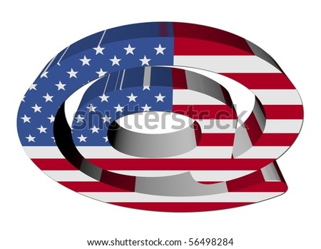 e-mail address AT symbol with American flag illustration