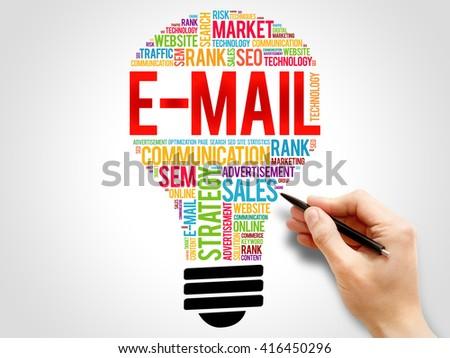 E-MAIL bulb word cloud, business concept - stock photo